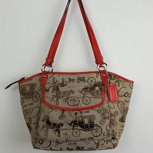 Coach Leah Horse Carriage Red Trim Canvas Bag